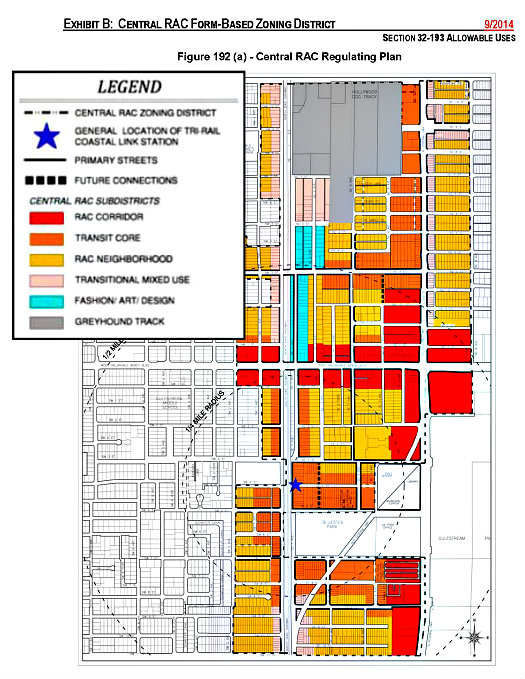 Regulating Plan for Hallandale Beach, Florida, prepared by Spikowski Planning Associates. Legend enlarged for easier viewing.