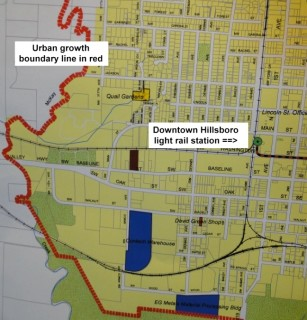 Portion of the urban growth boundary in Hillsboro.