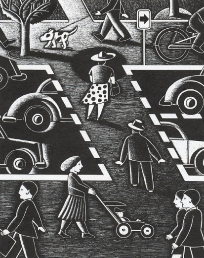 Pedestrians and cars. Illustration by Paul Hoffman for PlannersWeb