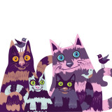 illustration of a colorful family of cats.