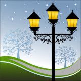 illustration of lampost at night