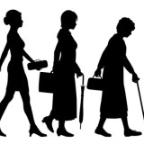 silhouette drawing showing woman going through stages of life and aging