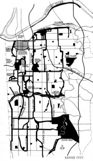 Map of George Kessler's  remarkable 1893 parkways and open space plan for Kansas City, Missouri.