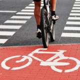 photo of bicyclist crossing started marked with bicycle image