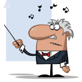 cartoon illustration of an orchestra conductor