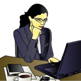 graphic of woman working at home on computer