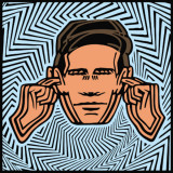 cartoon of man covering ears due to loud noise