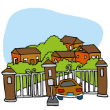 illustration of entrance to a gated community.