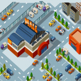 illustration of isolated shopping mall surrounded by parking lots