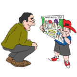 young boy holding drawing with planning ideas; cartoon by Marc Hughes for PlannersWeb