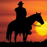 silhouette of cowboy on a horse