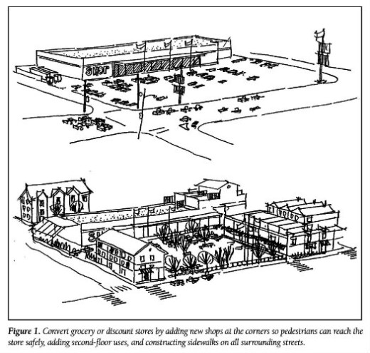 illustration for Richard Untermann article showing conversion of auto-oriented shopping center to higher density, mixed use