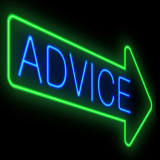 Green neon arrow with the word Advice inside