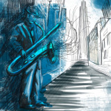 illustration of blues saxophonist