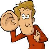 cartoon of man with big ear listening