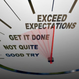 "graphic of dial with the words ""exceed expectations"""