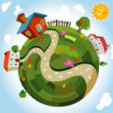 cartoon illustration of the earth with houses set amid green countryside