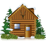 illustration of a log cabin in the snow