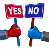 illustration of two hands holding yes and no signs
