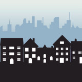 Silhouette of a neighborhood in front of a city skyline