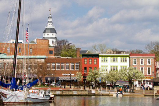 view of Annapolis, Maryland, downtown waterfront