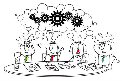 Cartoon sketch of committee brainstorming meeting.
