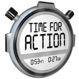 "stopwatch with the words ""time for action"""