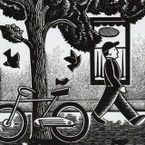 Walker and bicycle by tree in illustration by Paul Hoffman for PlannersWeb