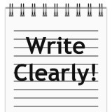 "page in notepad with the words ""Write Clearly!"""