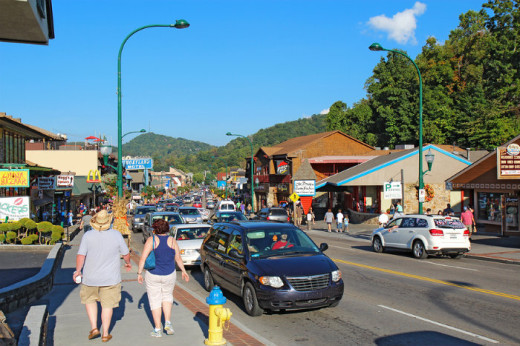 Tourists and traffic In Gatlinburg, Tennessee, an entry point to Smoky Mountains National Park.