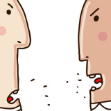 cartoon of two angry people facing each other