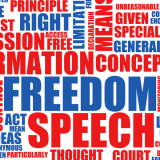 word cloud with words freedom and speech in large type