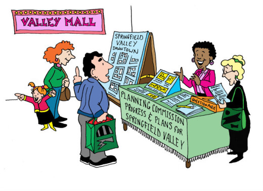 Planning commission display table at the mall. Illustration by Marc Hughes for PlannersWeb