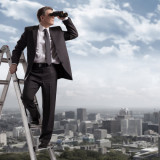 illustration of man with binoculars viewing city from ladder - different perspectives