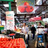 Inside busy farmers market in Montreal
