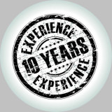emblem with the words: 10 years experience