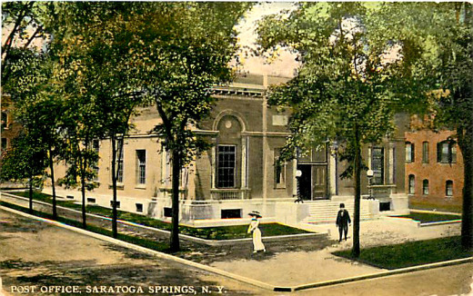 Postcard view of the downtown Saratoga Springs post office in its early days.
