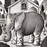 Illustration by Paul Hoffman for PlannersWeb of elephant in front of a house