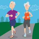Illustration of senior couple jogging.