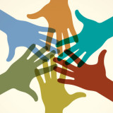 illustration of group of hands joining in consensus