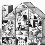illustration by Paul Hoffman for article on community child care facilities