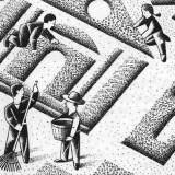 Community gardens illustration by Paul Hoffman for PlannersWeb