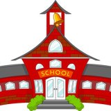 cartoon illustration of front of school building