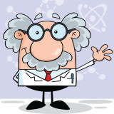 cartoon illustration of an aging scientist