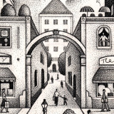 Town center illustration by Paul Hoffman for PlannersWeb