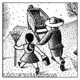 illustration of girl with rake and person with wheelbarrow in garden; by Paul Hoffman for PlannersWeb