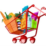 cartoon image of a grocery cart full of food