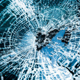 broken automobile windshield