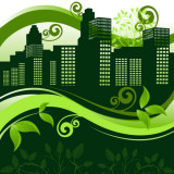 illustration of a green downtown