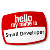 Name tag: hello my name is small developer